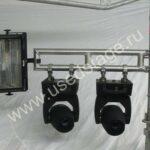 Новое!Крепление алюминиевое для светового и звукового оборудования S — 90 — 2X с алюминиевыми хомутами (Ø 50 мм), устанавливается на фермы, Layher и др.